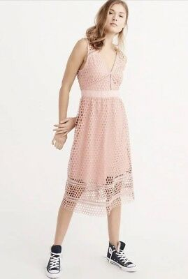 Nwt! Abercrombie & Fitch Womens Lace Midi Dress Rose Pink Size Small Petite Rare