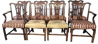 Set 8 (6+2) 18th Cent Chippendale Gothic Mahogany Dinning Chairs