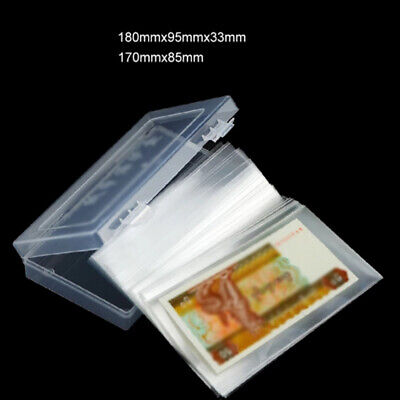 100pcs Protection bags Plastic Clear Flat pocket Banknotes Practical Durable