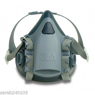 3M 7500 Series Silicone Half Mask Respirator 7503 Large + 1 Pair 2138 Filters