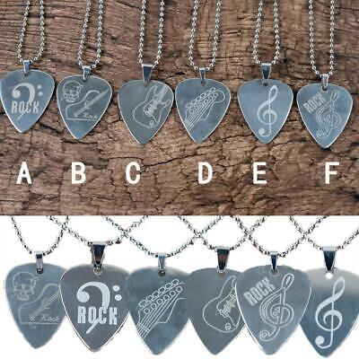 Stainless Steel Guitar Pick Necklace Musical Instrument Accessories EA77