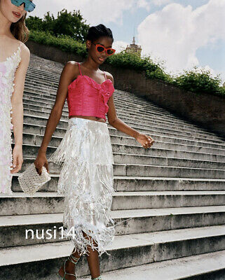 1744b97ce8 ZARA NEW MIDI Limited Edition Sequin Skirt With Fringing Silver Xs-L  7901/169