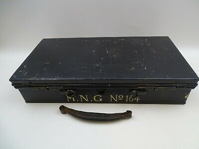 Antique Metal Deed Box For Valuables Documents With Key Marked MNG No 164