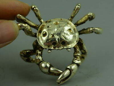 Exquisite Collect Old Tibet Silver Copper Carve Vivid Crab Exquisite Rare Statue