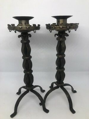 Antique Arts & Crafts Candlesticks Goberg Original Wrought Iron Germany Signed