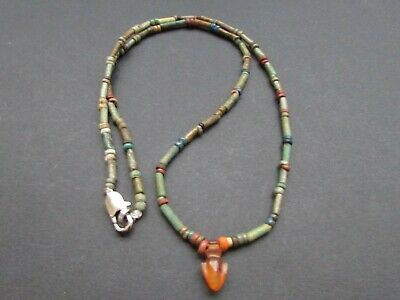 NILE  Ancient Egyptian Carnelian Heart Amulet Mummy Bead Necklace  ca 1000 BC