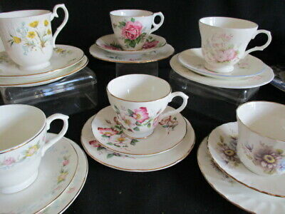 Vintage china mismatched Tea cups, saucers and plates TRIOS x 6