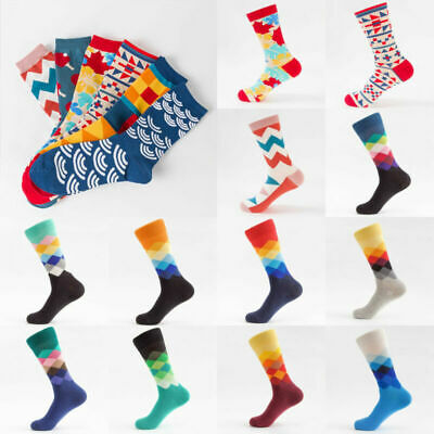Colourful Unisex Socks Men Cotton England Style Art Abstraction Funny Pattern