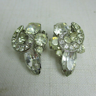 Vintage Retro Signed WEISS White Rhinestone Clip-On Earrings
