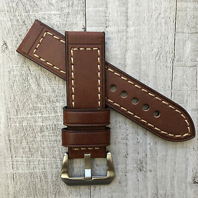 For Breitling Watch 22mm 24mm Lug Thick Brown Leather Strap Band Pre-v Buckle
