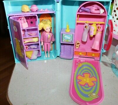 Lot Of Vintage Polly Pocket 2000 Fashion Carrying Case Closet Clothes Hangers