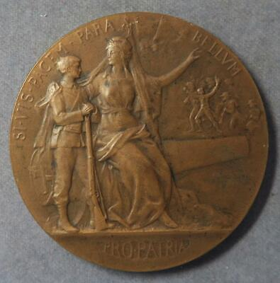 France Art Nouveau Bronze Medal Preparation for War military training