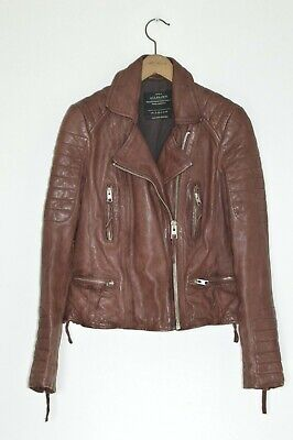 df0ce8922161 *STUNNING* AllSaints Ladies OXBLOOD Leather Biker Jacket UK10 US6 steine  moto D