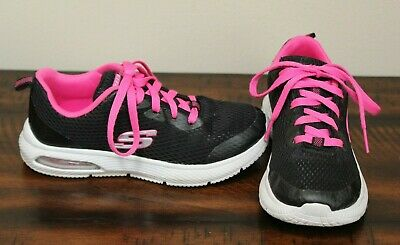 37d72796e71a3 Skechers BLACK SNEAKERS sz 1 Girls Youth Pink Shoes Athletic Lace Up
