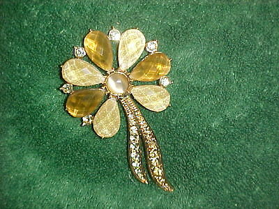 Vintage! Gold Tone/Brass Fall Colored Flower Glass/Rhinestone Brooch...unbranded