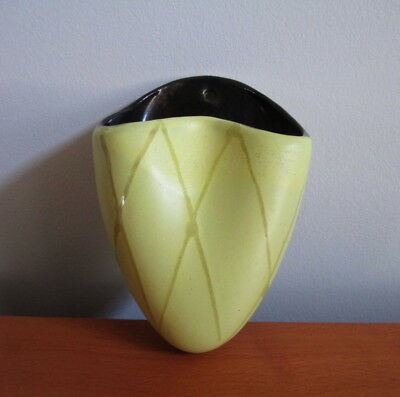 "Carstens Pottery Wall Pocket Sconce 454 Yellow Brown 5"" Vintage West Germany"