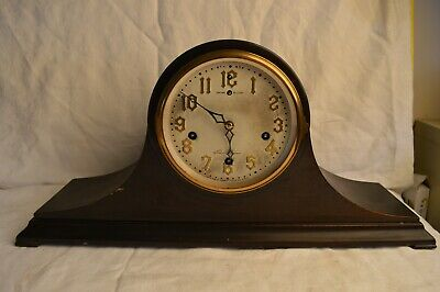 Antique 1923 New Haven Wells Westminster Chime 8 Day Mantle Clock Tambour Wood