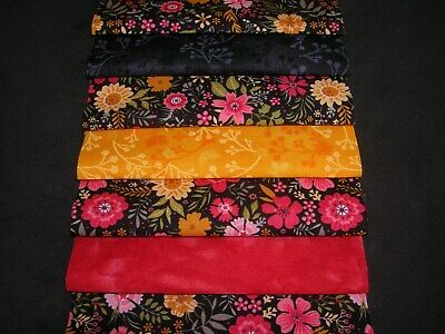 """40 x 5"""" CHARM PACK BLACK/ORANGE/RED 100% COTTON PATCHWORK/QUILTING/CRAFTS ROB"""