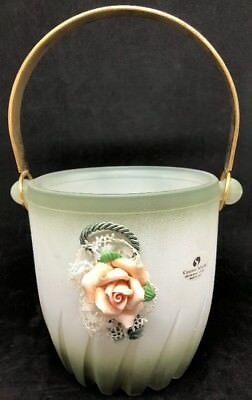 Murano Crystal Ice Bucket Hand Painted Embossed Made in Italy