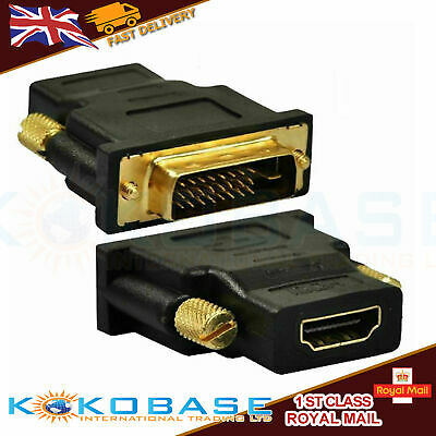 DVI-I MALE TO HDMI FEMALE ADAPTER CONNECTOR CONVERTER Gold Plated (24+5) Pin UK