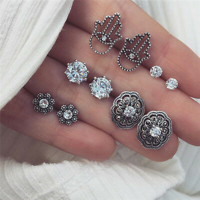 5Pairs  Bohemian Crystal Zirconia Earrings Ear Stud Earrings Jewelry Wedding FR