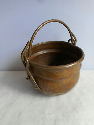 "Vintage Copper Pot handle OLDER item with Patina 4"" Round Metalware Collectible"