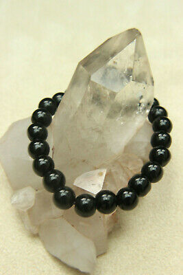 "Ladies Gents BLACK OBSIDIAN Polished ""Dragon Glass"" Bead Reiki Stretch BRACELET"
