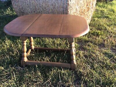 Small Vintage Oval solid Oak Drop Leaf occasional side table