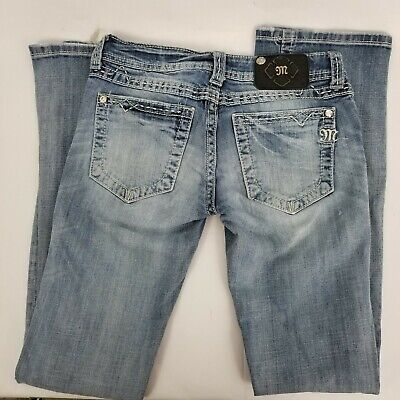 7bd953d288f221 WOMENS Miss Me Buckle Thick Stitch Pocket Boot Cut Bootcut Jeans Size 27 X  30