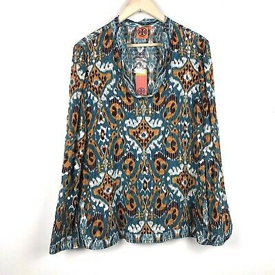 9e7f937b6223a Nwt Tory Burch Stephanie Tunic Blouse Top Sz 12 Long Sleeve Sequins Silk  Blue