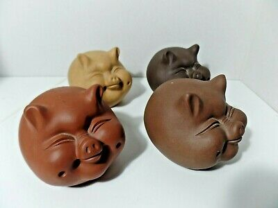 Vintage Asian Chinese pig clay set of 4