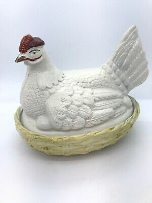 Antique 1850 James Dudson Staffordshire Hen Chicken On A Nest Signed Early