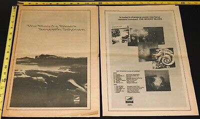 THE MOODY BLUES 1972 Seventh Soujourn Ad Advert + Concert Ad Mini Poster 2pc Lot