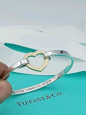 a23556015 Tiffany & Co Silver 18k Gold Heart Bangle Cuff Bracelet In Excellent  Condition