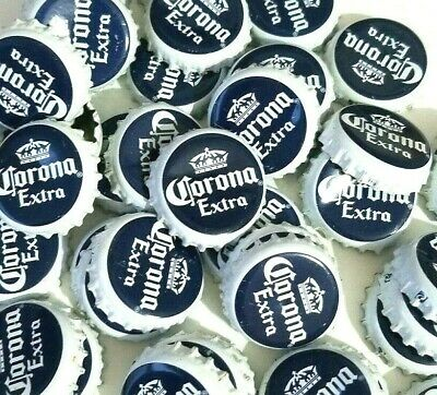 "50 ""CORONA Extra"" Beer Bottle Caps. Clean. SANITIZED. Navy Blue and White Caps."