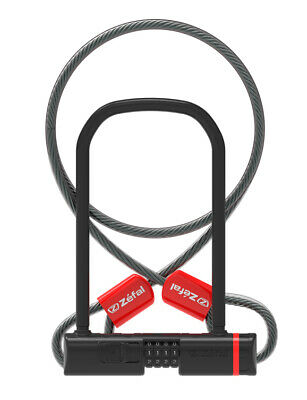 Bike Security Lock Zefal K-Traz U13 Combination D-Lock 230mm With Cable Black