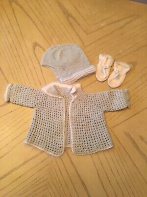 Vintage hand knit Baby Sweater, cap and booties.Blue & White 3 Pc
