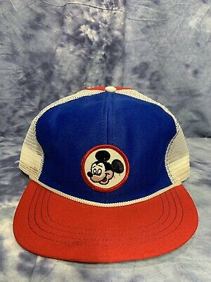 6ad312ac Vintage Mickey Mouse Disney Snap-back Trucker Hat Cap Flat Brim RARE Mesh  Patch