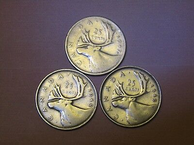 1947 ML, 1948, and 1949 Canada 25 cents silver