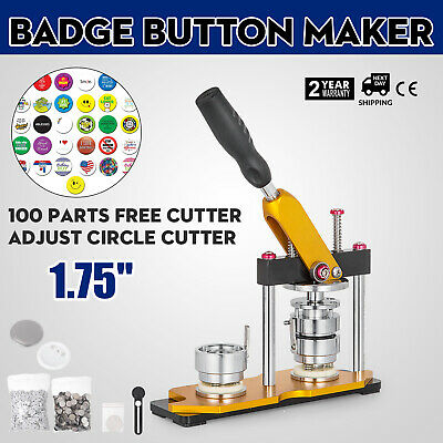 44mm(1.75'') Button Badge Maker Press Machine 100Pcs Bags Metal Slide Rotate Pro