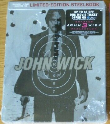 John Wick SteelBook Blu Ray DVD Digital Plus $8 Chapter 3 Movie Cash + BONUS 2