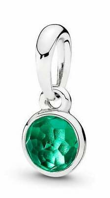 ede123786 Authentic Pandora Silver 925 ALE May Droplet Pendant Royal Green Crystal  Charm