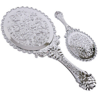 2pcs Decorative Vintage Style Oval Round Vanity Makeup Hand Held Mirror Silver