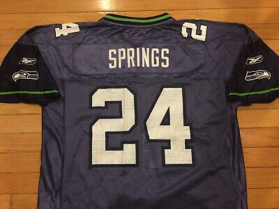 2e8be06a9 VTG Reebok SHAWN SPRINGS #24 Seattle Seahawks Jersey Mens Adult Large L Blue