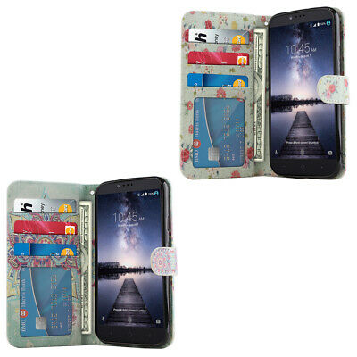For ZTE Zmax Pro Carry Z981 Flip Wallet Card Holder TPU STAND Case Cover