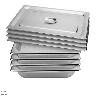 SOGA 4x Gastronorm GN Pan Full Size 1/1 GN Pan 100mm Stainless Steel Tray w/ Lid