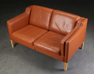 Vintage Retro Danish Stouby 2 Seater Cognac Leather Sofa