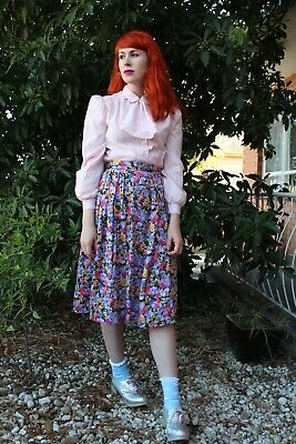 Vintage 80s floral skirt, flowers, retro, 1980s, purple