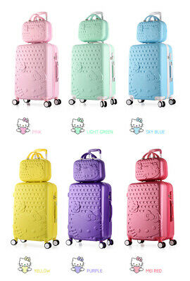 """2PCS/SET Lovely 14"""" + 20"""" Cosmetic Bag Hello Kitty Trolley Case Travel Luggage"""