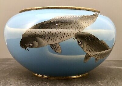 5Japanese Meiji Cloisonne Bowl with Carp attributed to Gondo